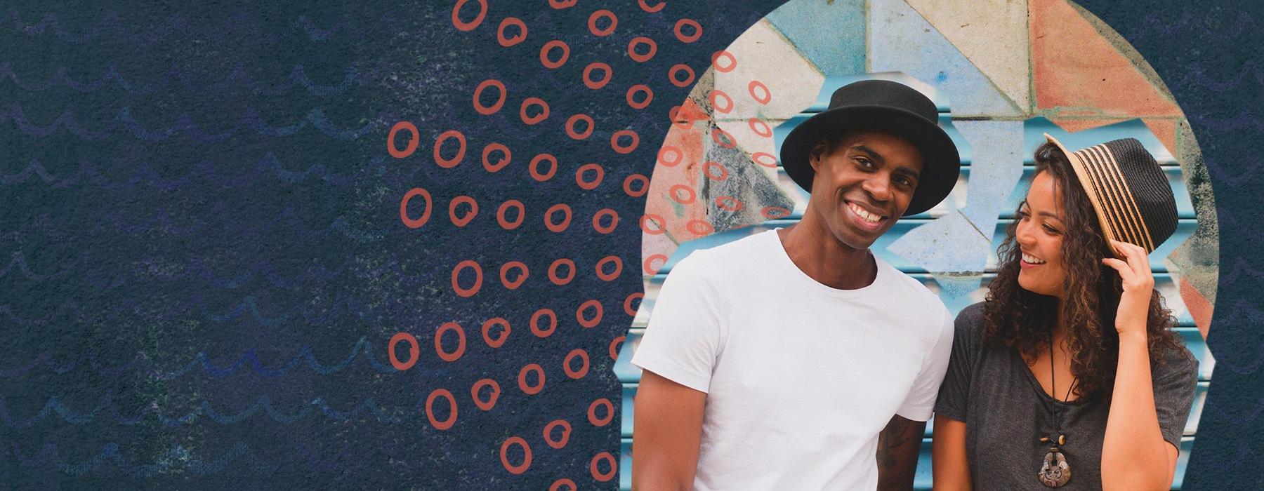 stylized image of happy urban couple