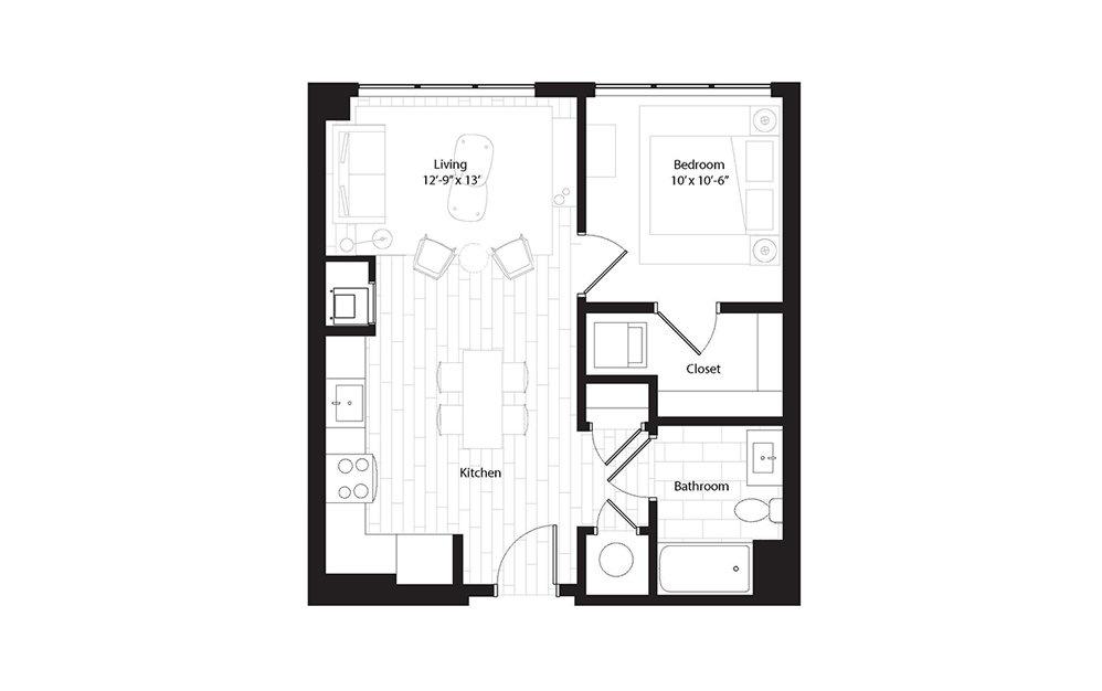 A1.1 1 Bedroom 1 Bath Floorplan