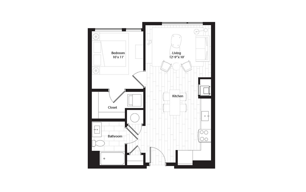 A1.2 1 Bedroom 1 Bath Floorplan