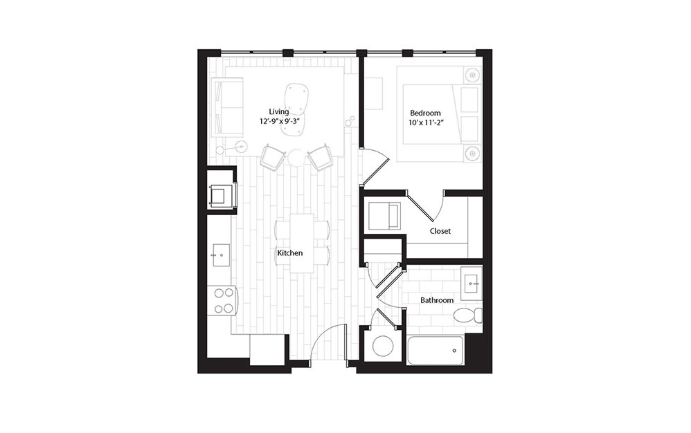 A1.3 1 Bedroom 1 Bath Floorplan