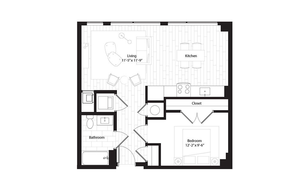 A10 1 Bedroom 1 Bath Floorplan
