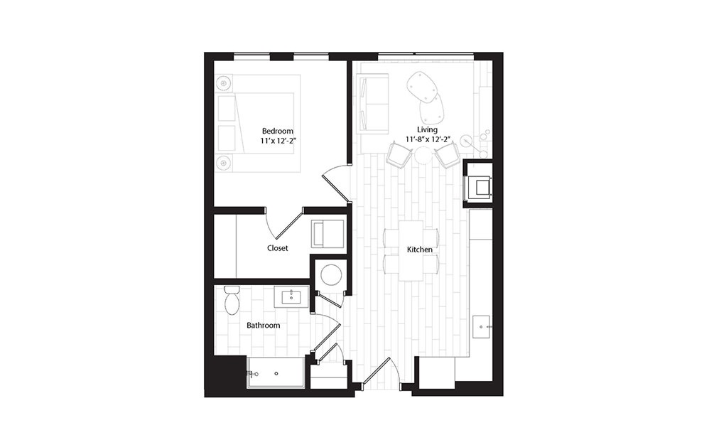 A11 (Group 2A) 1 Bedroom 1 Bath Floorplan