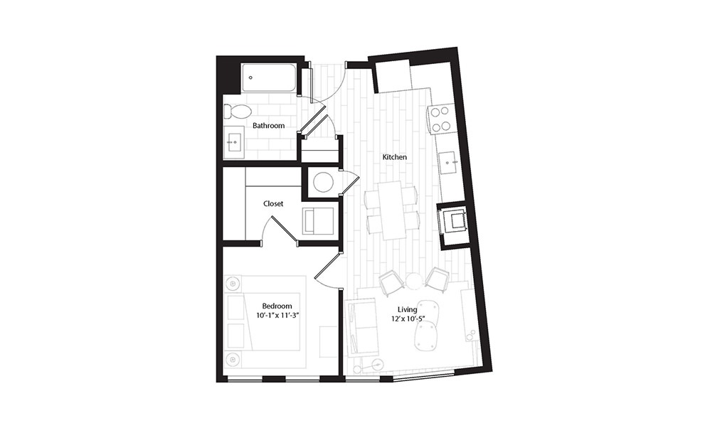 A2.1 1 Bedroom 1 Bath Floorplan