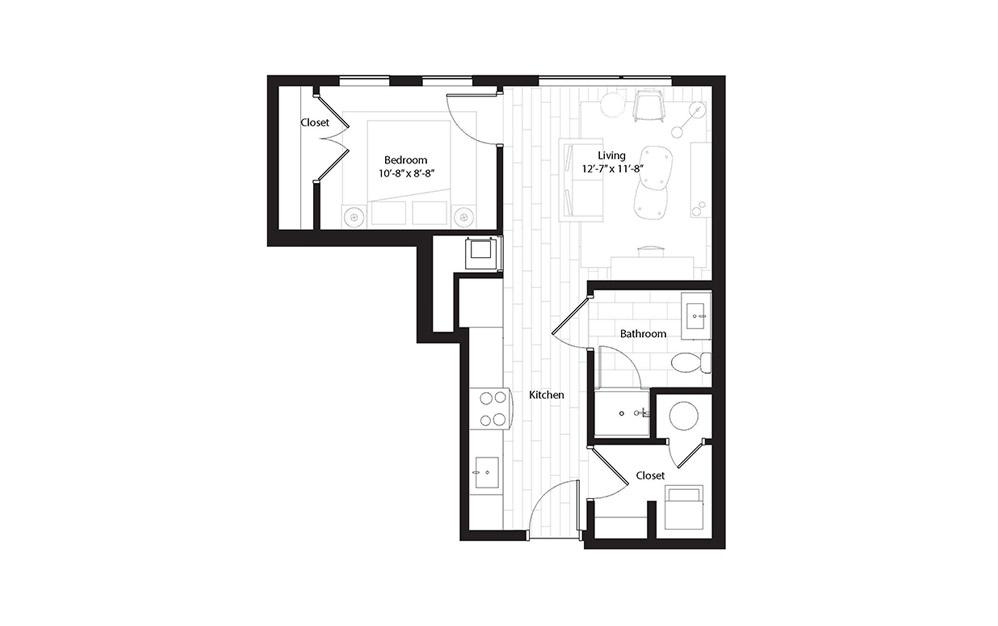 A3 1 Bedroom 1 Bath Floorplan