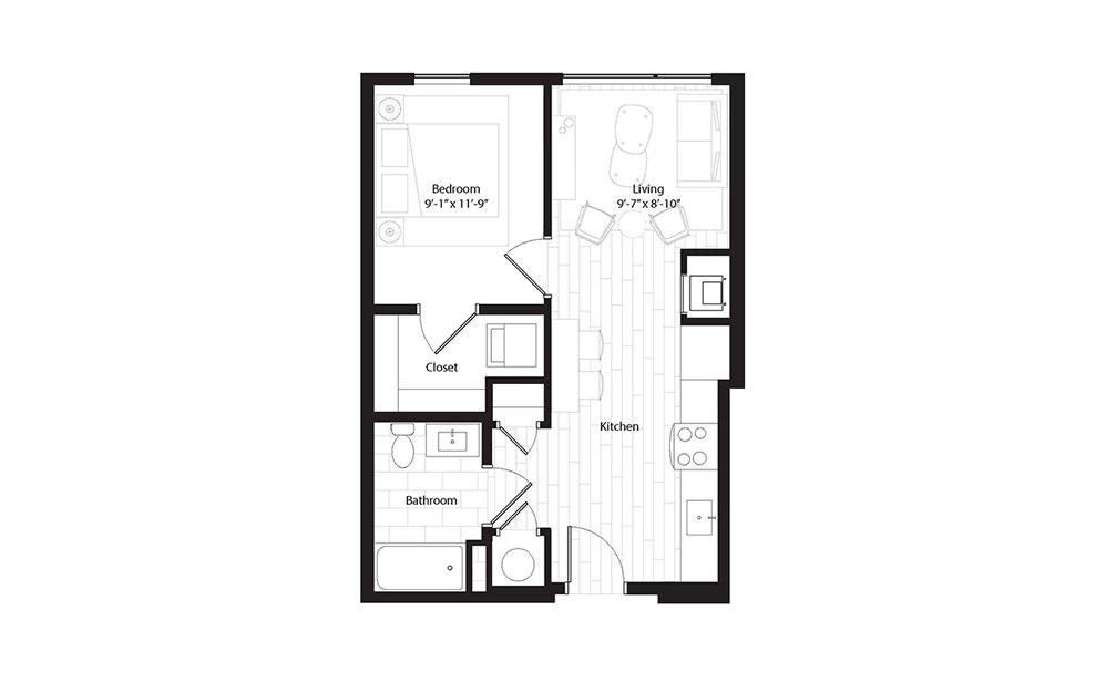 A4.1 1 Bedroom 1 Bath Floorplan