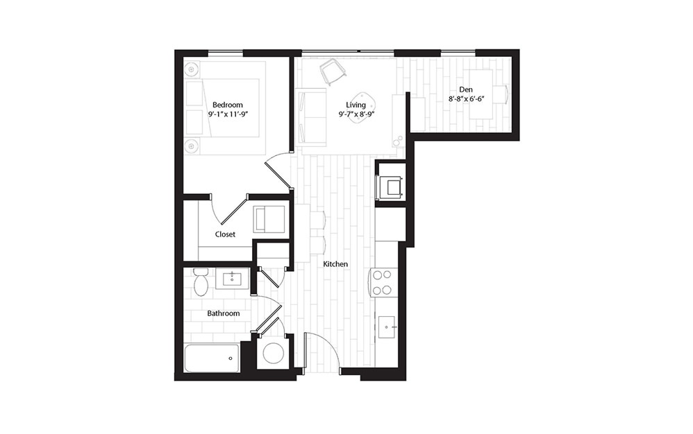 A4.2 1 Bedroom 1 Bath Floorplan
