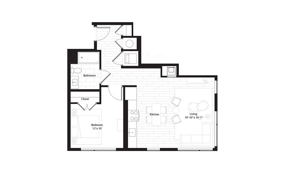 A5 1 Bedroom 1 Bath Floorplan