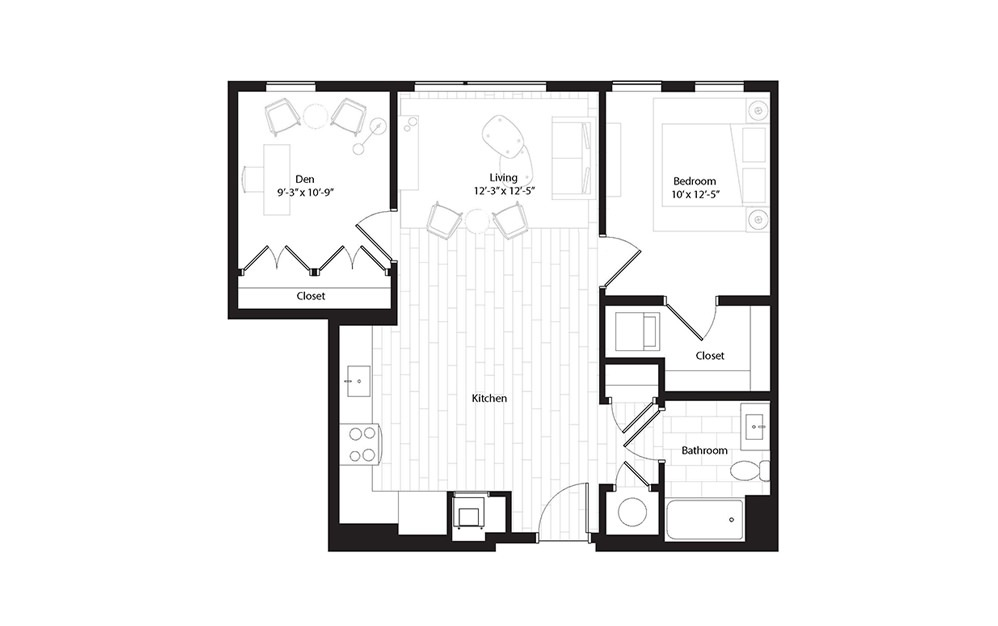 A6 1 Bedroom 1 Bath Floorplan