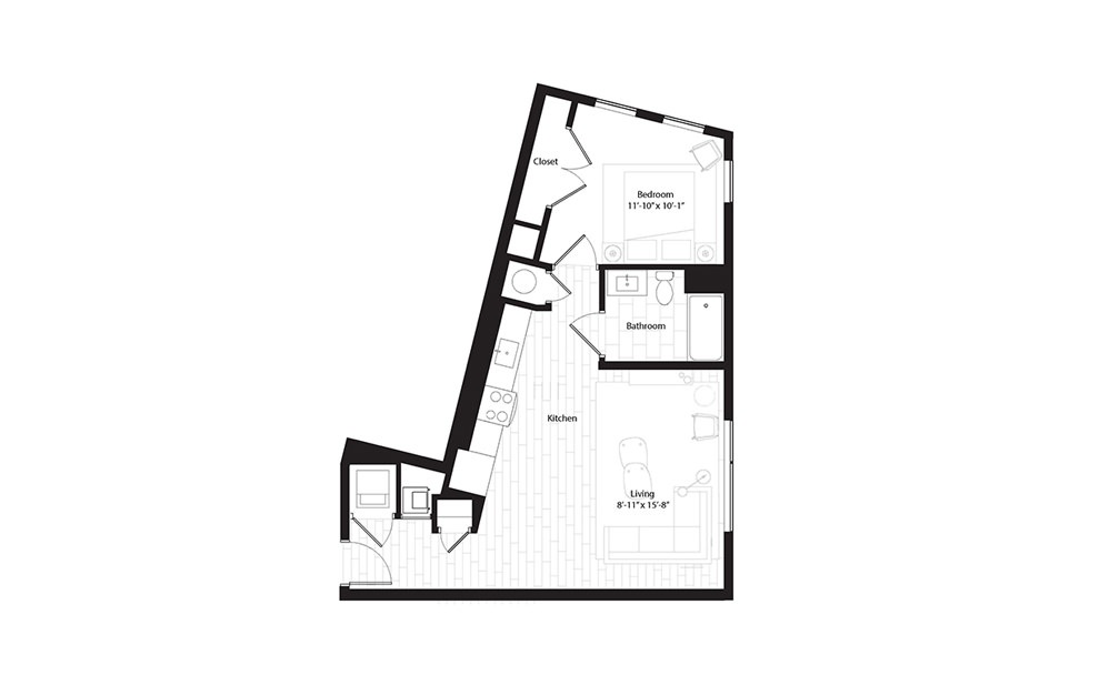A9 1 Bedroom 1 Bath Floorplan