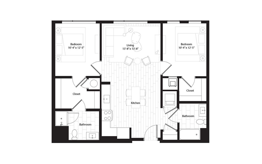 B1.1 2 Bedroom 2 Bath Floorplan