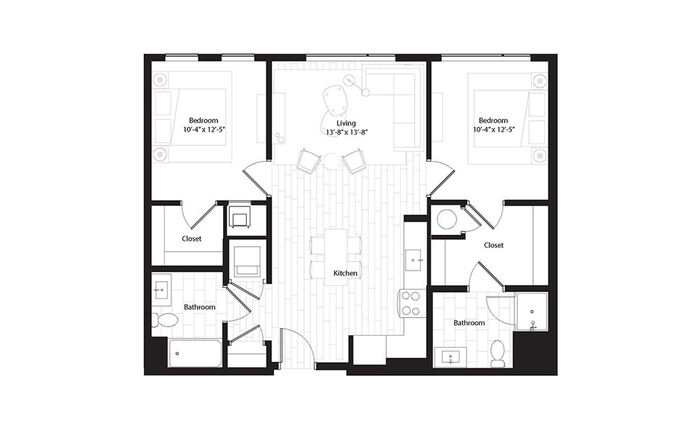 B1.2 2 Bedroom 2 Bath Floorplan