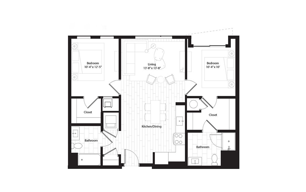 B1.2B 2 Bedroom 2 Bath Floorplan