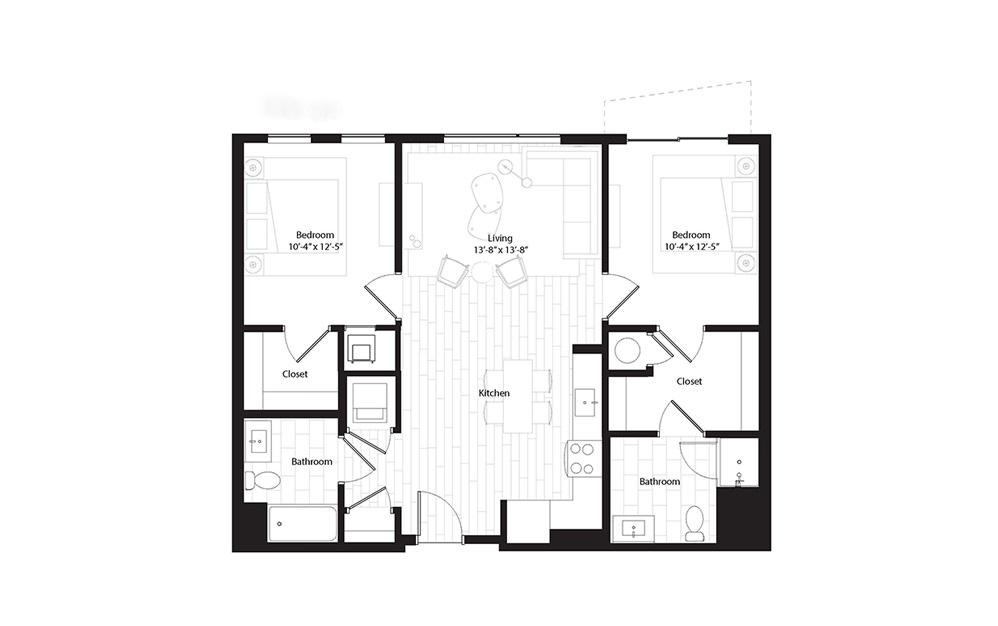 B1.3 2 Bedroom 2 Bath Floorplan