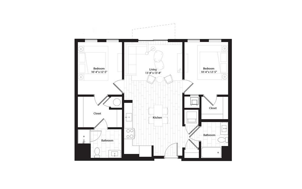 B1.A 2 Bedroom 2 Bath Floorplan