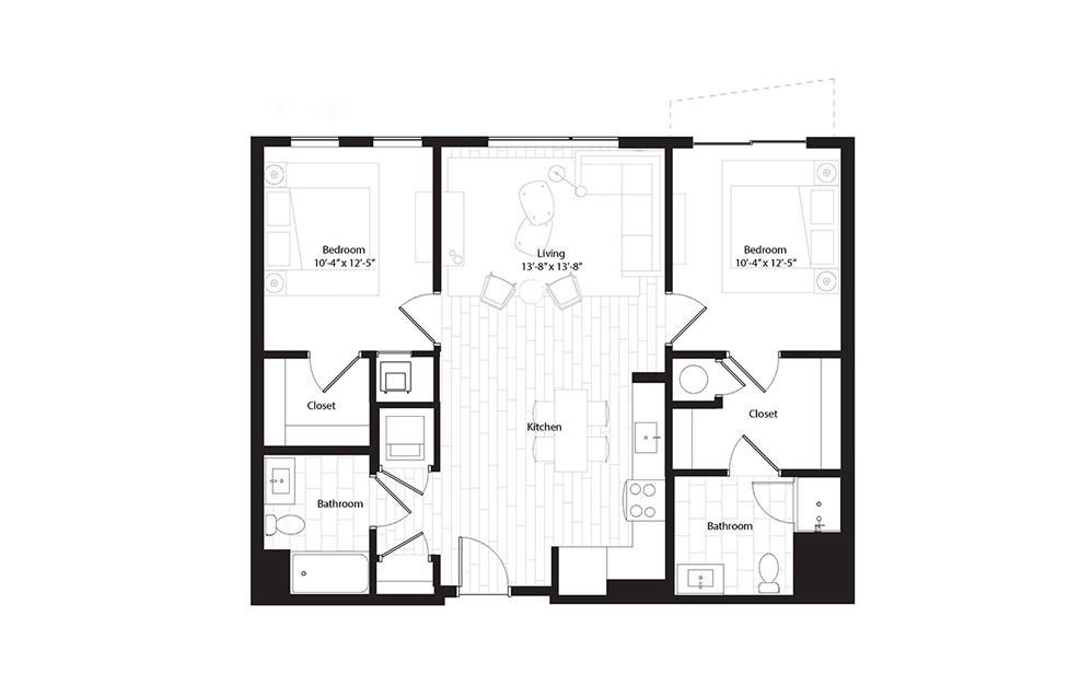 B1.B 2 Bedroom 2 Bath Floorplan