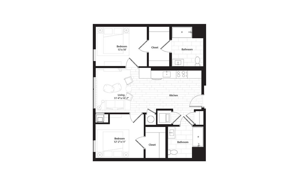 B12 2 Bedroom 2 Bath Floorplan