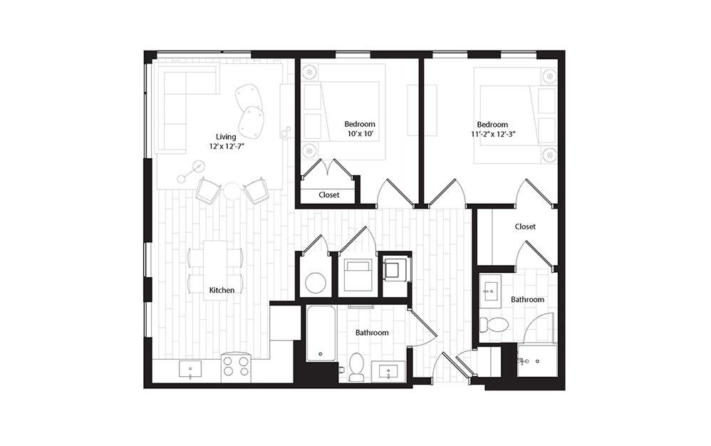 B2 2 Bedroom 2 Bath Floorplan