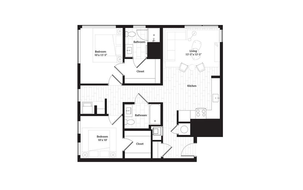 B3 2 Bedroom 2 Bath Floorplan