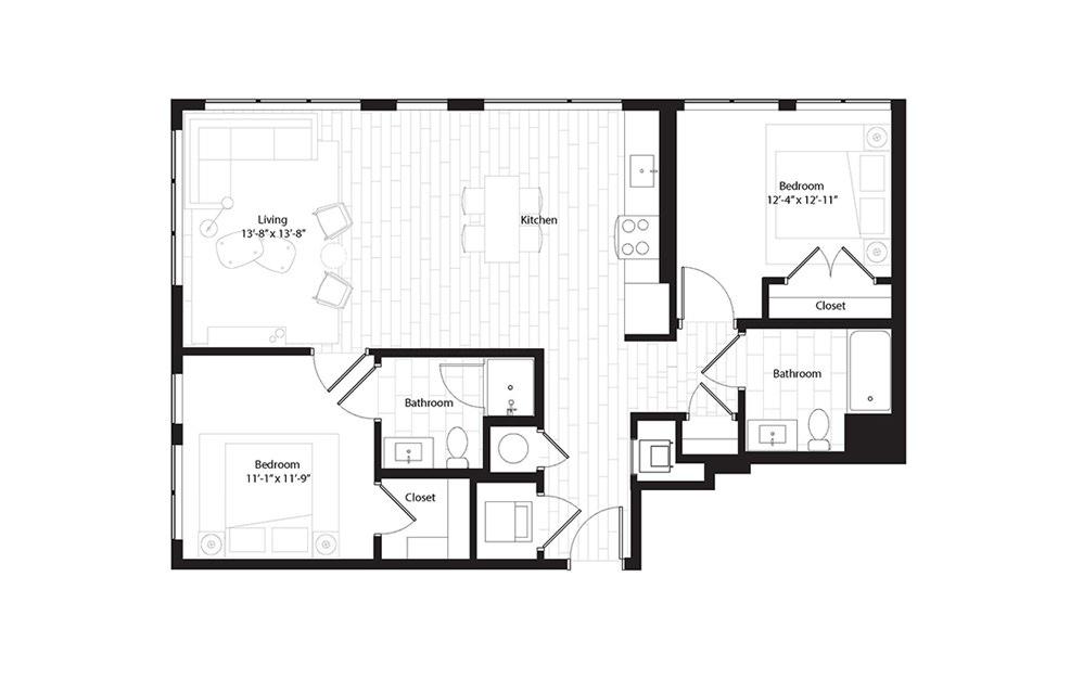 B4.1 2 Bedroom 2 Bath Floorplan