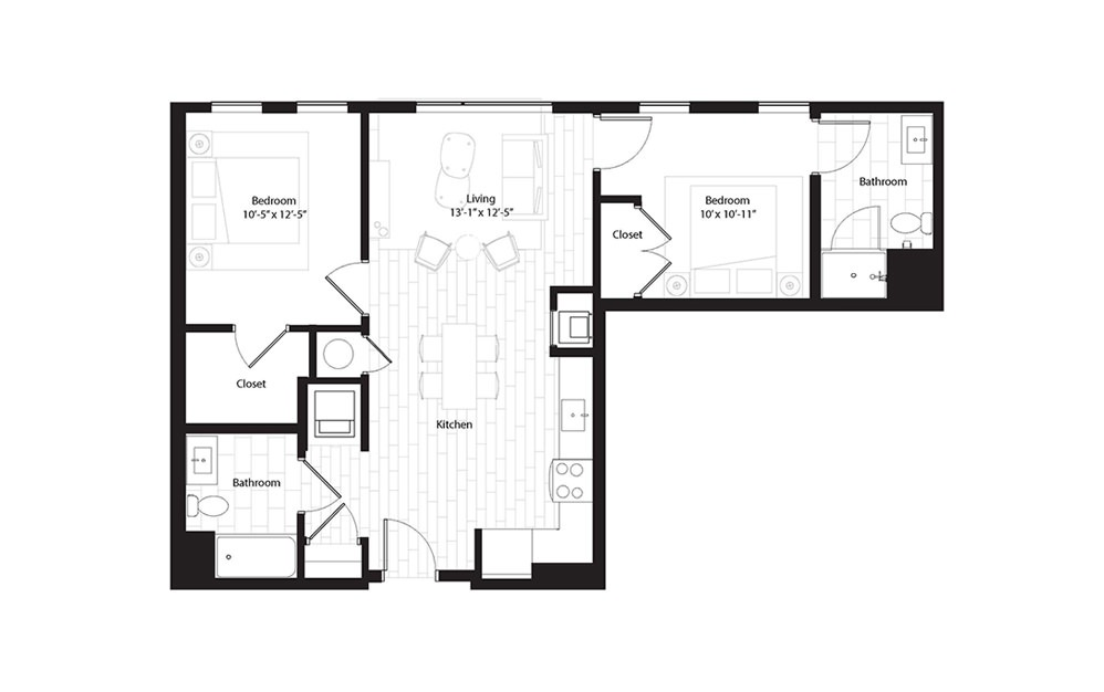 B8 2 Bedroom 2 Bath Floorplan