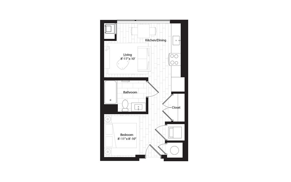 S1 OA studio 1 Bath Floorplan