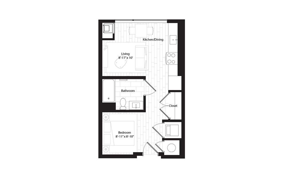 S1 OA studio 1 Bath Floorplan