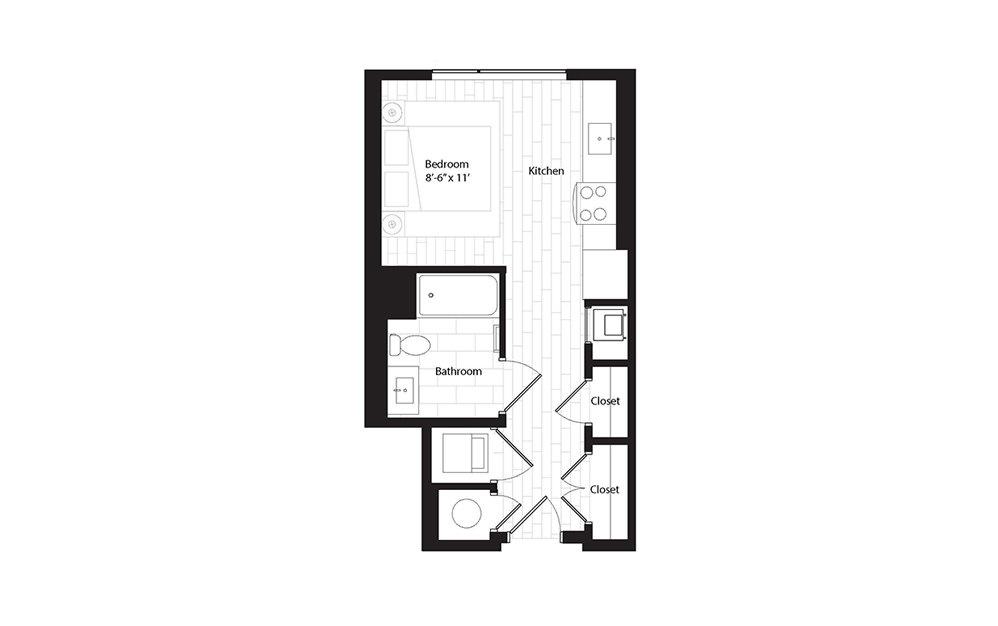 S2.1 studio 1 Bath Floorplan