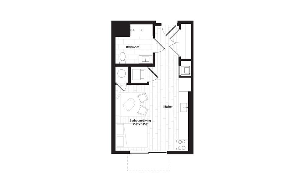 S4 studio 1 Bath Floorplan